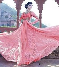 Buy Pink embroidered Net semi stitched party-wear-gowns party-wear-gown online