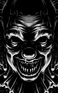 Creepy Clown on Behance Scary Clown Drawing, Horror Drawing, Scary Art, Creepy Clown, Creepy Dolls, Joker Clown, Clown Horror, Halloween Horror, Dark Fantasy Art