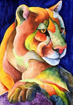Cougar Art Print by Sherry Shipley Animal Paintings, Animal Drawings, Art Drawings, Abstract Animals, Colorful Animals, Canvas Prints, Art Prints, Framed Prints, Rock Art