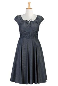 Denim Chambray Cotton Dresses, Dot Print Chambray Dresses Womens designer fashion - Tunic Tops - Shop for Tunic Tops, Women's Long Sleeve Tops - | eShakti.com