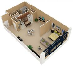 Studio Apartment Floor Plans One Bed Studio One Room Apartment Layout Studio Ap. Studio Apartment Floor Plans, Studio Apartment Layout, One Room Apartment, Small Studio Apartments, Apartment Plans, Modern House Plans, Home Design Plans, House Layouts, Home Staging