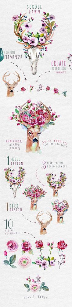 Deer, skull & floral by Peace ART on @creativemarket http://www.skullclothing.net: