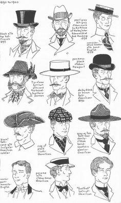 History of Hats - Village Hat Shop 1890s Fashion, Edwardian Fashion, Vintage Fashion, 1920s Fashion Male, Historical Costume, Historical Clothing, Illustration Mode, Illustrations, Retro Mode