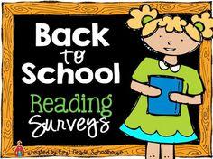 Classroom Freebies: Back to School Reading Survey