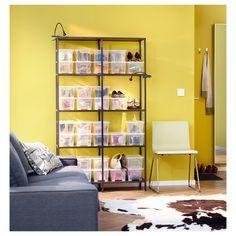 VITTSJÖ Shelf unit - black-brown/glass - IKEA