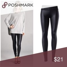 Faux leather high waist leggings ❤️Wardrobe Staple❤️ Faux leather high rise leggings Price | $21  96% Polyester 4% Spandex Can be worn high waisted or folded over as pictured. Imported. Boutique Pants Leggings