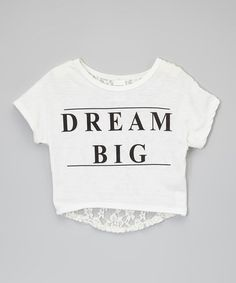 Look at this #zulilyfind! White 'Dream Big' Lace-Back Crop Top - Toddler & Girls #zulilyfinds