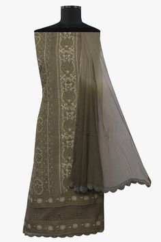 Ada #handembroidered  Army Green #cotton #lucknowi  #chikankari Unstitched Suit Piece – A579169