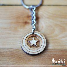 Captain America Shield keychain OR Captain America Shield charm accessory - captain america keychain captain america charm laser cut wood