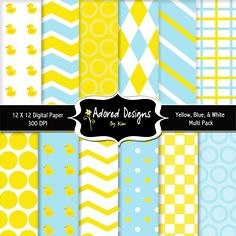 rubber duck paper digital  (yellow, blue, and white multi pack) - Product  37 (12 digital paper designs). $3.00, via Etsy.