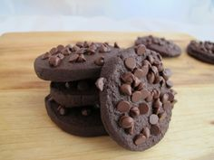 Double chocolate icebox cookies. Slice and bake, with mini-chocolate chips sprinkled on top before baking.