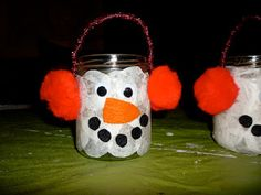 Snowman tealights for kids to paint.