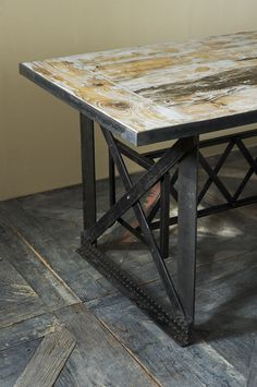 Brooklyn Dining Table; inspired by Brooklyn Bridge, top is old railway sleepers from India; Riviera Maison