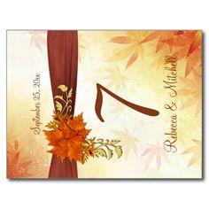 Autumnal leaves Table number Postcard