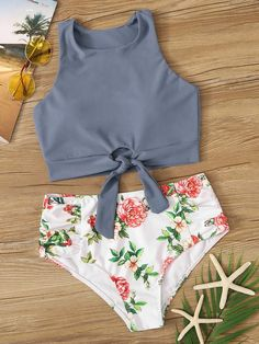 Shein Knot Front Top With Floral Bikini Set Swimsuits For Tweens, Bathing Suits For Teens, Summer Bathing Suits, Cute Bathing Suits, Summer Swimwear, Summer Suits, Juniors Swimsuits, Sporty Swimwear, Floral Bikini Set