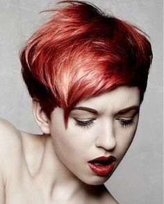 Idée coupe courte : A short red straight coloured multi-tonal messy hairstyle by Bonce Salons