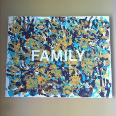Hand print wall canvas with family handprints - tape first , handprint, peal , dry , hang !