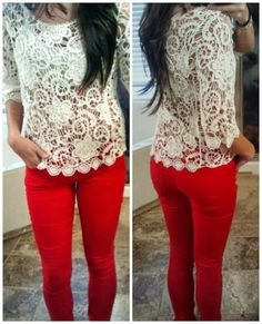 White lace shirt and red color skinny jeans | Fashion World