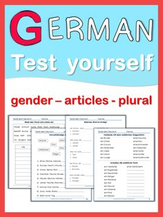 This set of worksheets is suitable for beginning learners. Students can practice and repeat gender, definite/indefinite articles and different plural forms. Test your German worksheets are very useful for revision, homework and early finishers. This set has 23 worksheets plus answer keys.