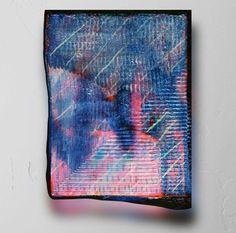 """<div class=""""photo""""> <div class=""""caption""""> <p>El Corte de la Derecha, 2014</p> <p>13""""x10"""" (33cm x 25.4cm)</p> <p>Carved Acrylic, Spray Paint and Wood</p> <p></p> </div> </div>"""