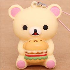 Rilakkuma white bear with hamburger squishy cellphone charm