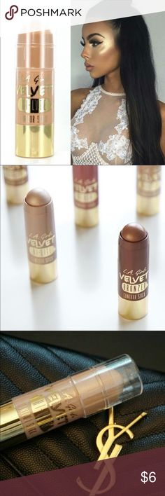 L.A. Girl Velvet Hi-Lite Contour Stick Highlighter made easy with the Velvet Contour Stick Collection. This luxurious formula is paraben free with added jojoba seed oil, shea butter, cocoa seed butter and grape seed oil. The soft powdery finish blends beautifully to create the perfect contour and sculpted look! Collection includes 3 highlighters, 10 blushes and 3 bronzers Makeup Bronzer