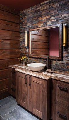 29 Lovely DIY Rustic Bathroom designs you can create for your home decor Rustic Bathroom Decor Design No. Rustic Bathroom Designs, Rustic Bathroom Vanities, Rustic Bathroom Decor, Rustic Decor, Bathroom Plans, Bathroom Ideas, Master Bathroom, Remodel Bathroom, Bathroom Renovations