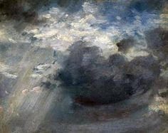 Sky Study with a Shaft of Sunlight - John Constable. Oil on paper. Fitzwilliam Museum, University of Cambridge, Cambridge, England, UK. Landscape Art, Landscape Paintings, Sky Painting, A Level Art, Art Uk, Sky And Clouds, Your Paintings, Art History, Illustrations