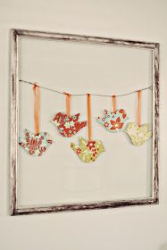 DIY~ Birds On A Wire :: Distressed frame, wire hanger, paper-fabric birds and ribbon. Lay decorative paper or burlap for the background. Papier Kind, Diy And Crafts, Arts And Crafts, Geek Crafts, Recycled Crafts, Paper Birds, Fabric Birds, Fabric Wall Art, Framed Fabric