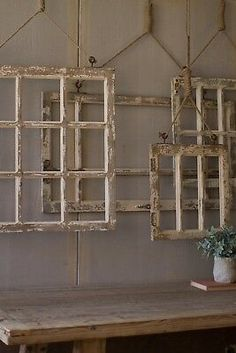 Window Frame Wall Decor Old Rustic Window Wall Art Set of 4 841628136487 Window Frame Decor, Old Window Frames, Frames On Wall, Framed Wall Art, Rustic Window Decor, Window Ideas, Wall Décor, Window Pane Crafts, Old Window Headboard