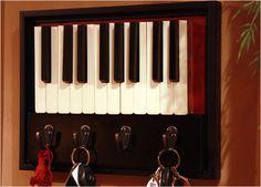 Old piano keys for keyholder. #music #keys http://www.pinterest.com/TheHitman14/music-paraphenalia/