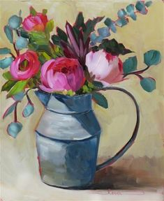 "Daily Paintworks - ""Pitcher and Peonies"" - Original Fine Art for Sale - © Martha Lever Abstract Flowers, Watercolor Flowers, Watercolor Art, Flower Canvas, Flower Art, Paintings I Love, Floral Paintings, Arte Floral, Art For Art Sake"