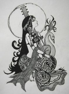 Goddess Saraswati devi Saraswati: Goddess of Knowledge & Arts Saraswati Goddess, Goddess Art, Saraswati Painting, Art Sketches, Art Drawings, Sharpie Drawings, Indian Art Paintings, Abstract Paintings, Oil Paintings