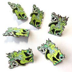 Unicorn and skulls enamel pin, spooky enamel pin, limited edition, lapel pin, flair, unicorn fantasy brooch badge
