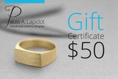Electronic Gift Certificate for PaulaLapidot on Etsy, 50 USD Gift E-Card, Etsy Gift, Anonymous Gift, Secret Santa, Surprise Gift, Fundraiser