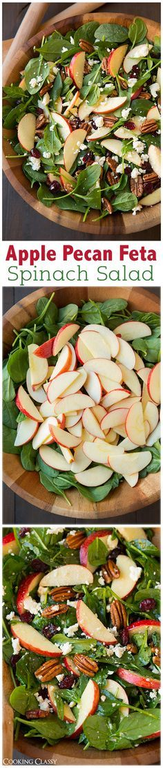 Apple Pecan Feta Spinach Salad with Maple Cider Vinaigrette - this salad is a must try recipe! Highly recommend adding the bacon too. Switch the feta with goat cheese. Vegetarian Recipes, Cooking Recipes, Healthy Recipes, Cooking Tips, Keto Recipes, Pecan Recipes, Pescatarian Recipes, Cooking Games, Easy Recipes