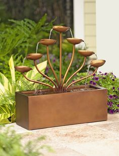Cascading Leaves Garden Fountain | Buy from Gardener's Supply
