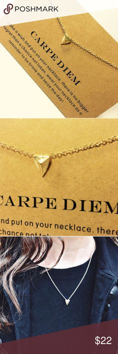 """Dogeared """"Carpe Diem"""" Gold Dipped Necklace Adorable gold dipped dainty pendant necklace made of zinc alloy. Includes quote card. Perfect layering inspired necklace. Handmade in the USA. Length is 15 3/4"""" and extends up to 19"""" Dogeared Jewelry Necklaces"""