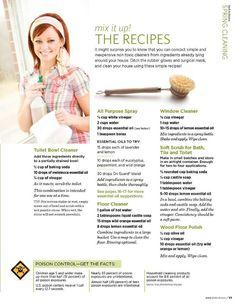 doTERRA LIVING Magazine Spring 2012 DIY toilet bowl cleaner, soft scrub, floor cleaner.