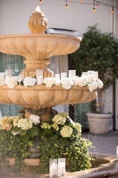 Wedding Receptions, Greenery, Fountain, Our Wedding, Backdrops, Candles, Cake, Instagram Posts, Outdoor Decor