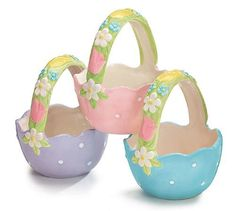 Set of 3 Easter Egg Basket Candy Dishes with Spring Colors and Floral Accents