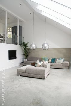 too contemporary for me, but I love the idea of hanging chandeliers in the family room! Room, Interior, Interior Inspiration, Family Room, Home, Decor Design, House Interior, Living Room Grey, Home Structure