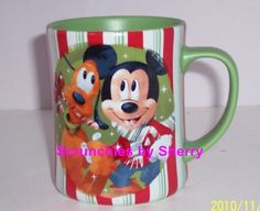 Disney Store Christmas Mickey Minnie Pluto Green Mug Candy Striped Holiday Retired
