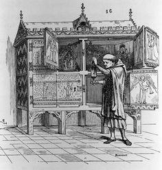 Noyon Cabinet by E. Viollet-Le-Duc, 1874 (Dictionnaire raisonné du mobilier français). Model for Yatman cabinet.
