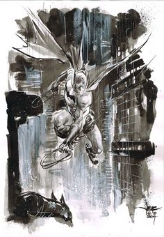 Day 22 - Batman inkwash on A4 canson paper