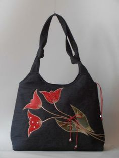 Custom-designed bag with tulips
