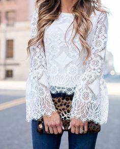 Lacy white blouses + jeans. Very nice. Romantic and cute