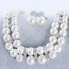 The bride accessories set chain sets gift dinner dress wedding dress rhinestone double layer pearl necklace r                Price:US $45.33 / piece     http://www.aliexpress.com/store/product/The-bride-accessories-set-chain-sets-gift-dinner-dress-wedding-dress-rhinestone-double-layer-pearl-necklace/336652_1128693006.html