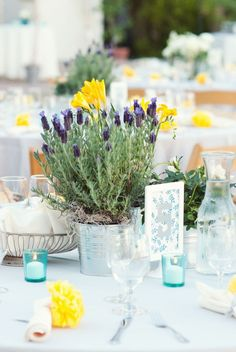 Potted plants as centerpieces let the guests have something to take home.