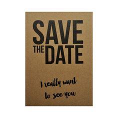 Ansichtkaart - Save the date  #kaart #kraft #A6 #typografie #recycle #quote #grafisch #ontwerp #design #envelop #papier #bruin #karton